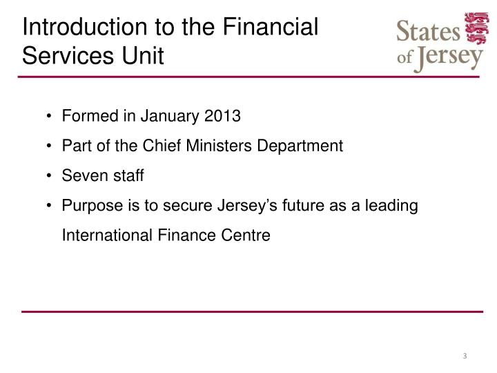 Introduction to the Financial Services Unit