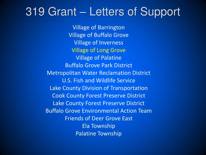 319 Grant – Letters of Support