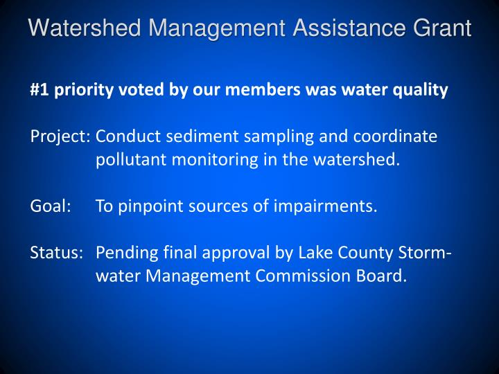 Watershed Management Assistance Grant