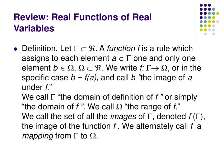 Review: Real Functions of Real Variables
