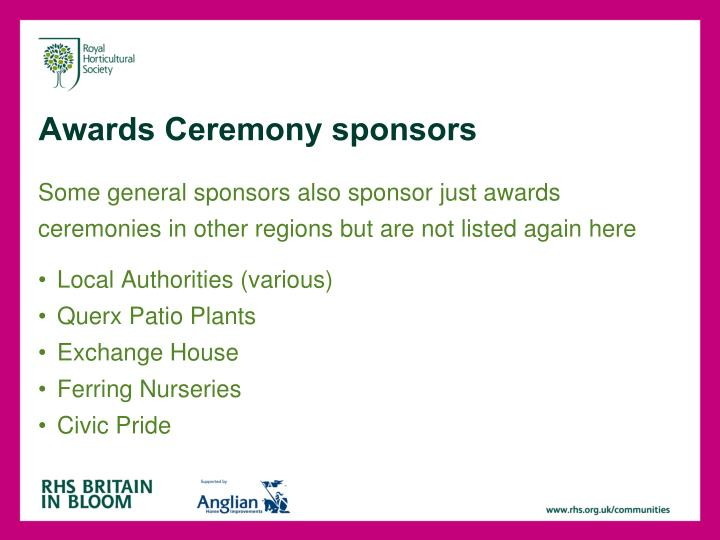 Awards Ceremony sponsors