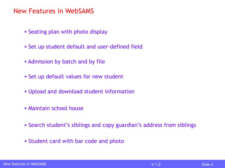 New Features in WebSAMS