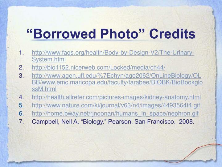 """""""Borrowed Photo"""" Credits"""