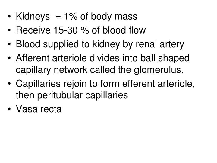 Kidneys  = 1% of body mass
