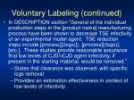 voluntary labeling continued