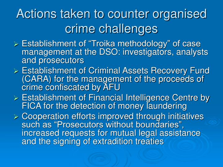 Actions taken to counter organised crime challenges