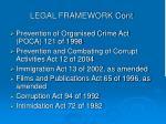 legal framework cont
