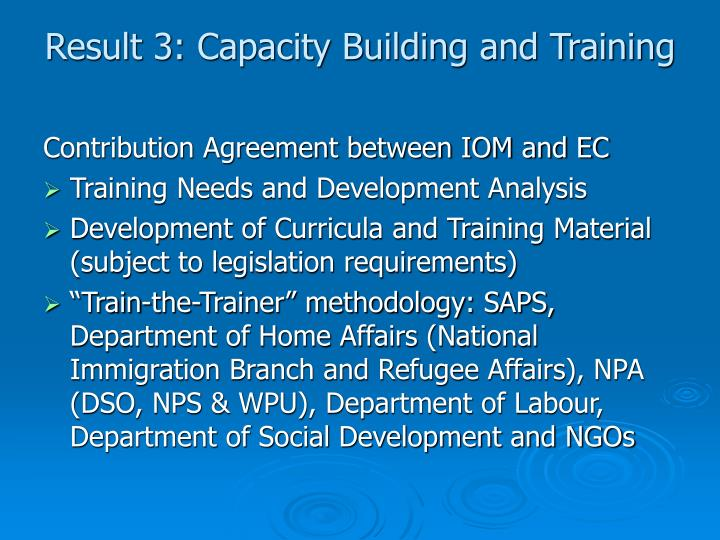 Result 3: Capacity Building and Training