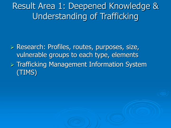 Result Area 1: Deepened Knowledge & Understanding of Trafficking