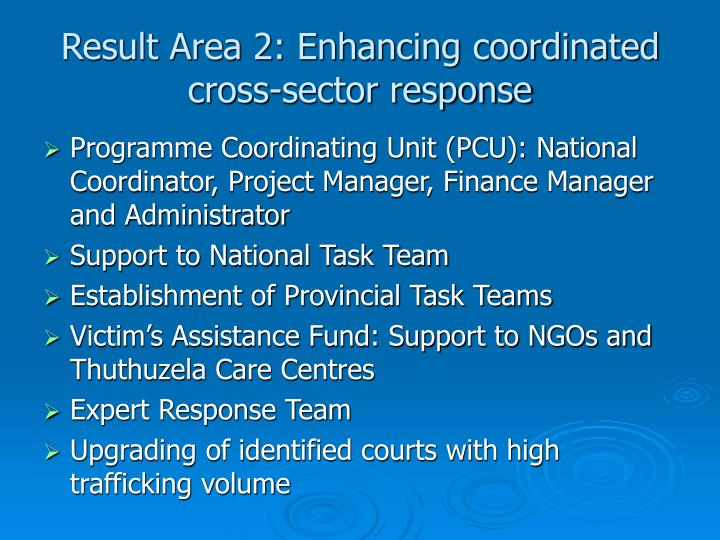 Result Area 2: Enhancing coordinated cross-sector response