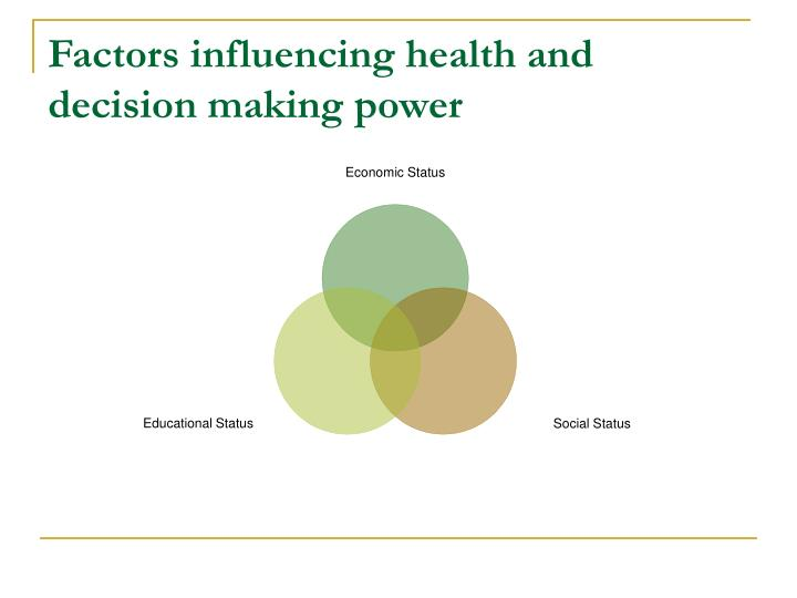 Factors influencing health and decision making power
