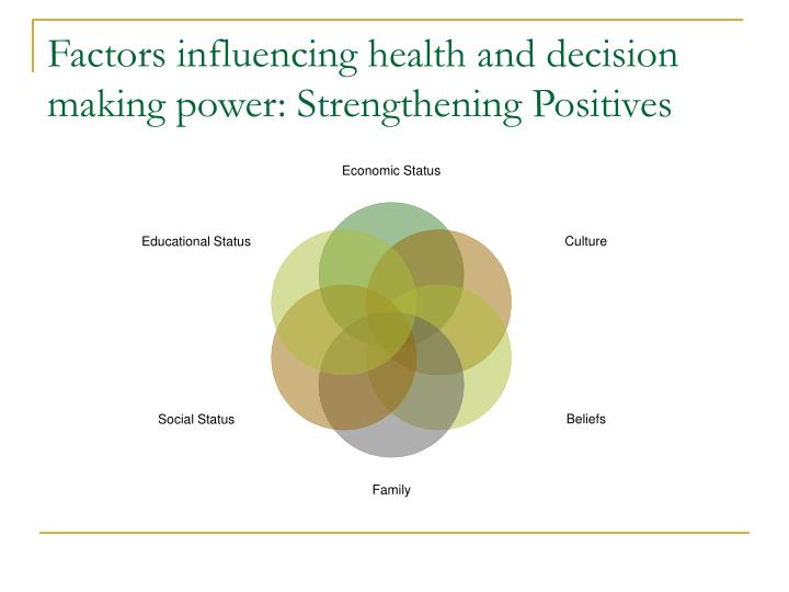 Factors influencing health and decision making power: Strengthening Positives