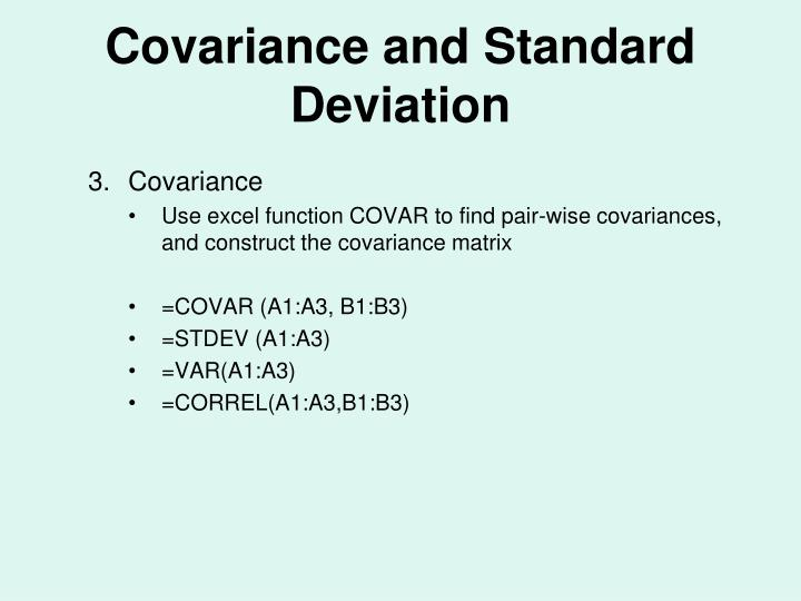 Covariance and Standard Deviation