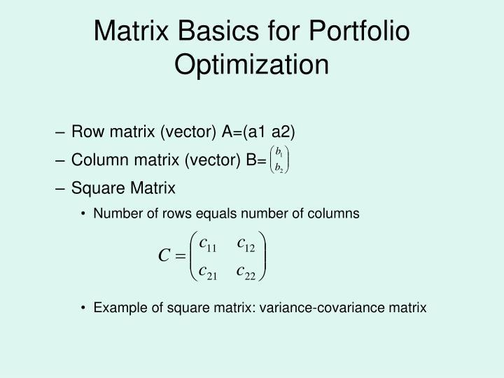 Matrix Basics for Portfolio Optimization