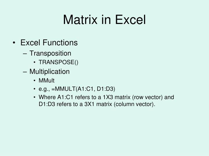 Matrix in Excel