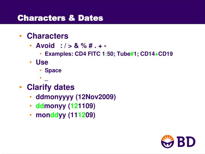 Characters & Dates