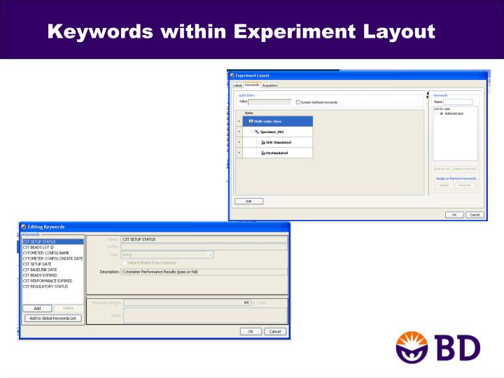Keywords within Experiment Layout