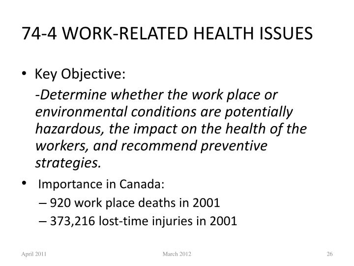 74-4 WORK-RELATED HEALTH ISSUES