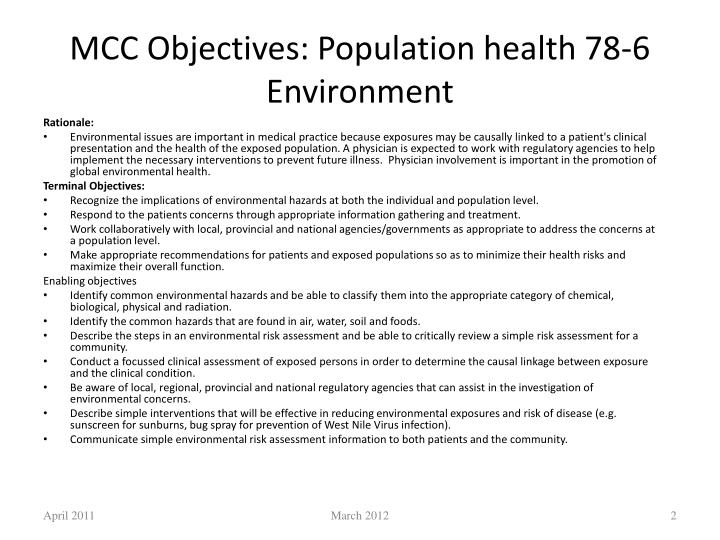 MCC Objectives: Population health 78-6 Environment