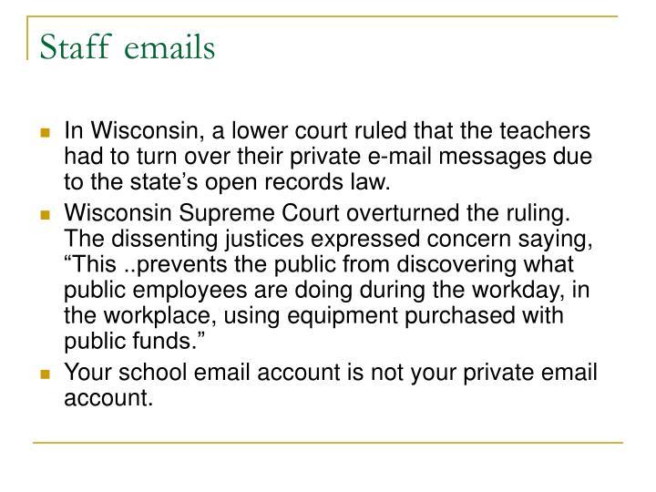 Staff emails
