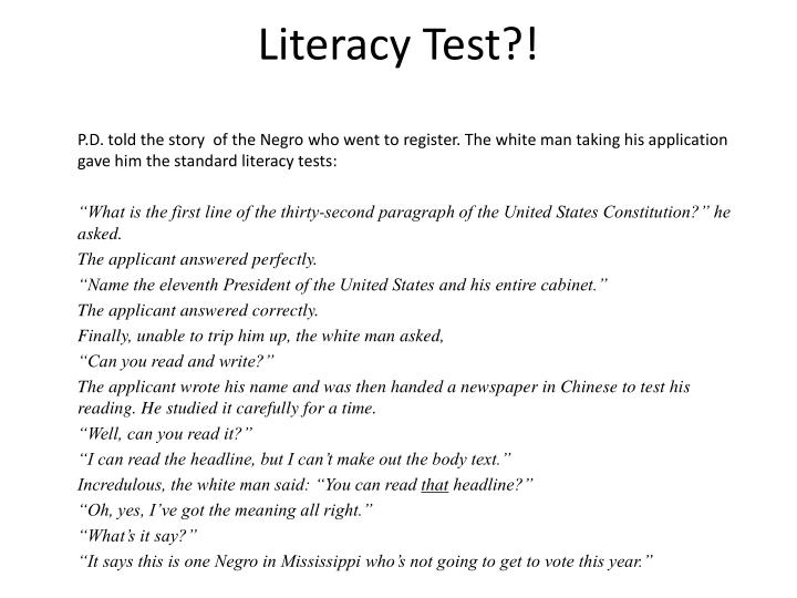 Literacy Test?!