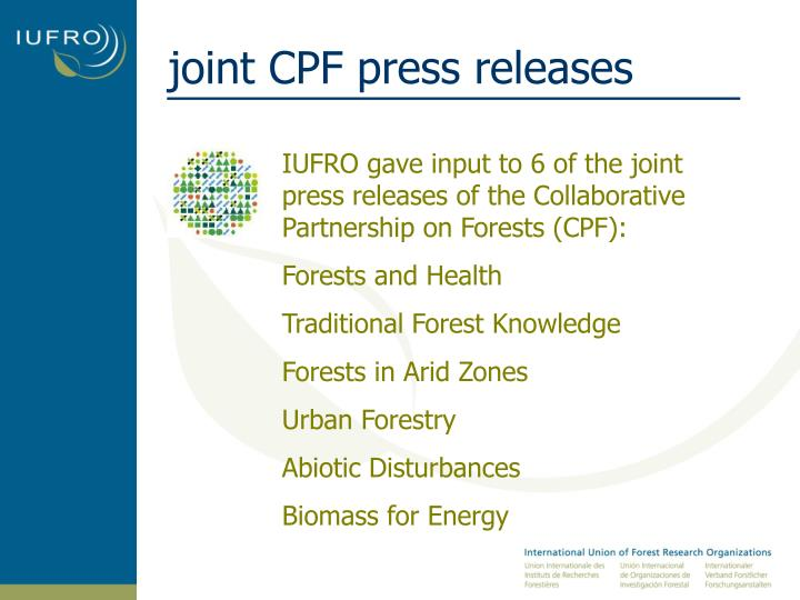 joint CPF press releases