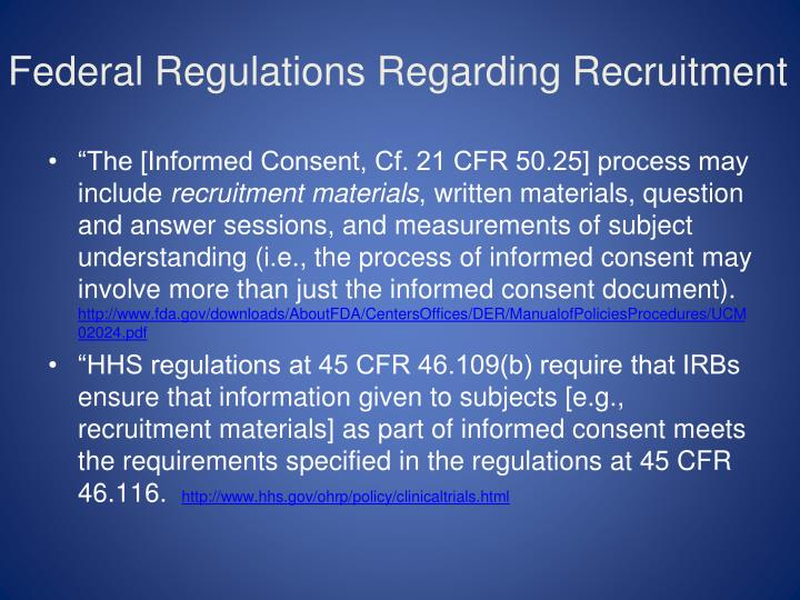 Federal Regulations Regarding Recruitment