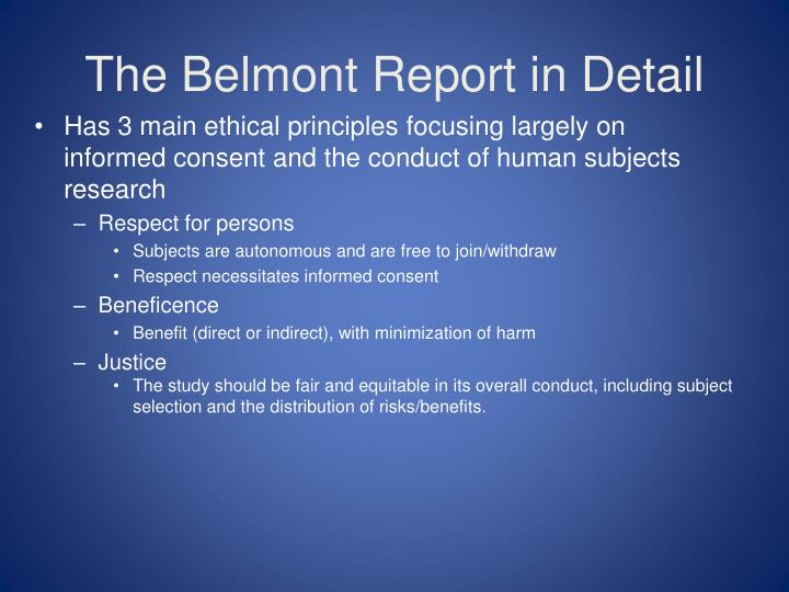 The Belmont Report in Detail