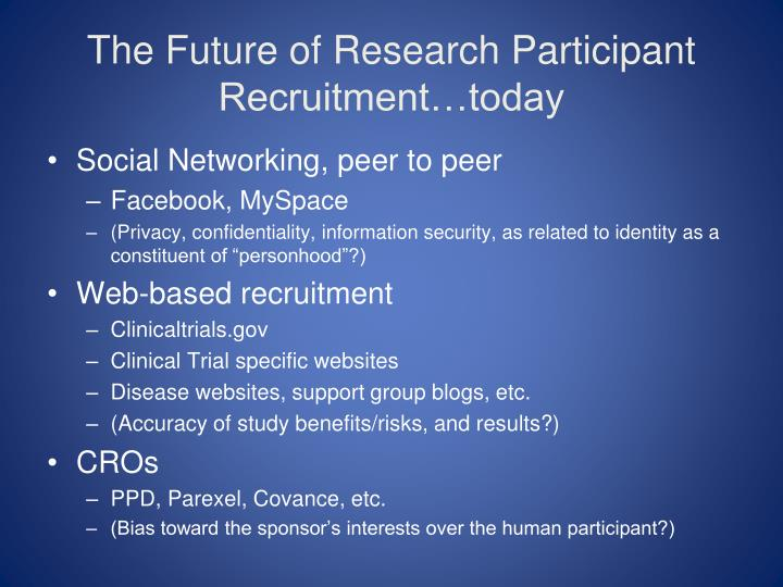 The Future of Research Participant Recruitment…today