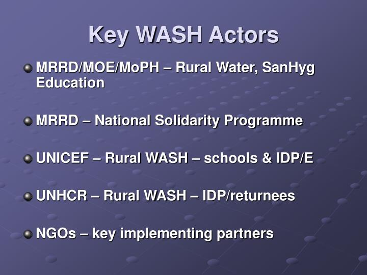 Key WASH Actors