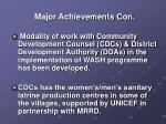 major achievements con