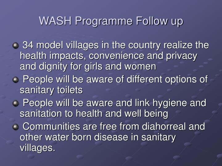 WASH Programme Follow up