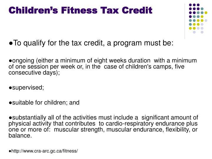 Children's Fitness Tax Credit