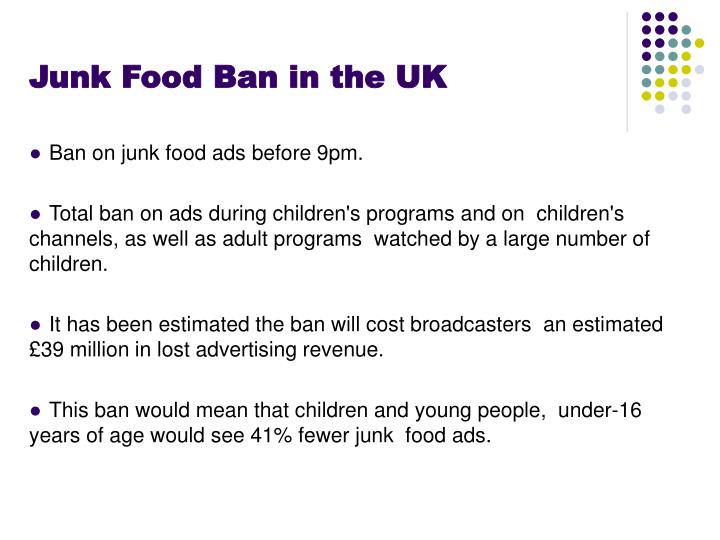 Junk Food Ban in the UK