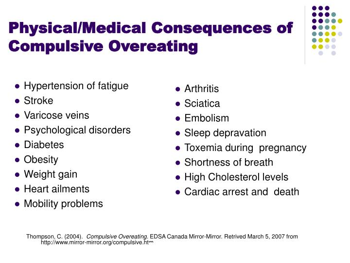 Physical/Medical Consequences of  Compulsive Overeating