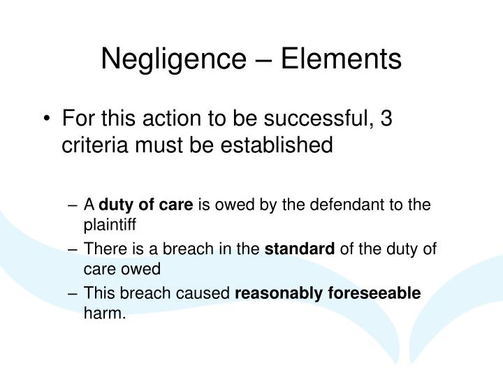 Negligence – Elements