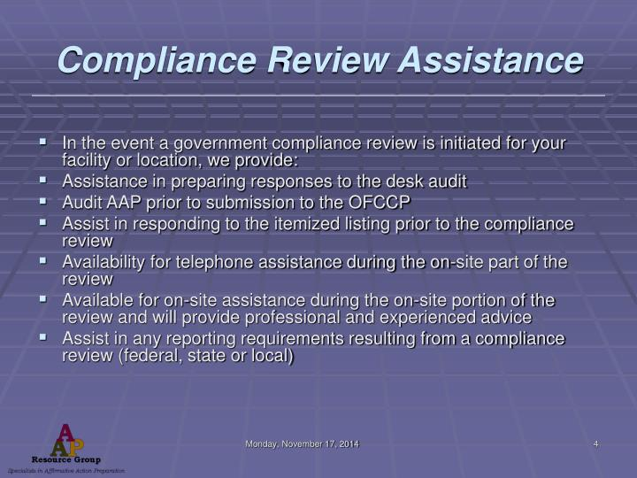 Compliance Review Assistance