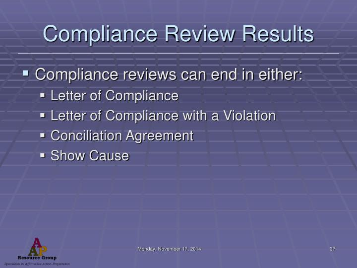 Compliance Review Results