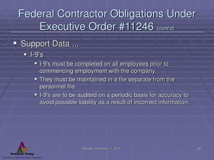 Federal Contractor Obligations Under Executive Order #11246