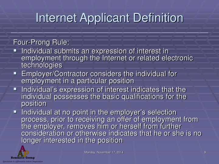 Internet Applicant Definition