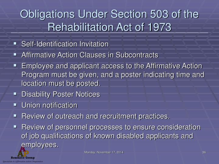 Obligations Under Section 503 of the Rehabilitation Act of 1973