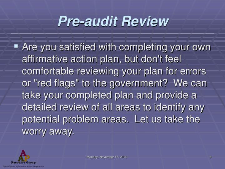 Pre-audit Review