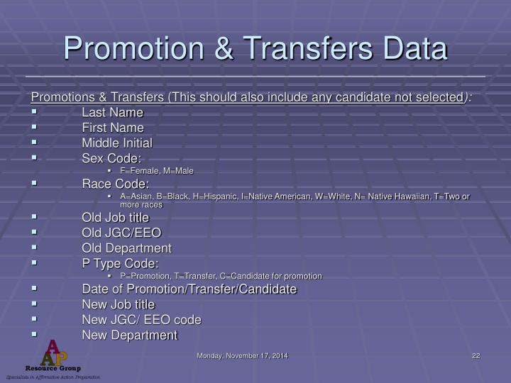 Promotion & Transfers Data