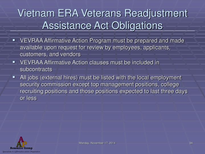 Vietnam ERA Veterans Readjustment Assistance Act Obligations
