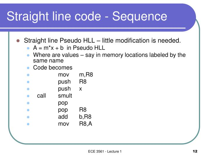 Straight line code - Sequence