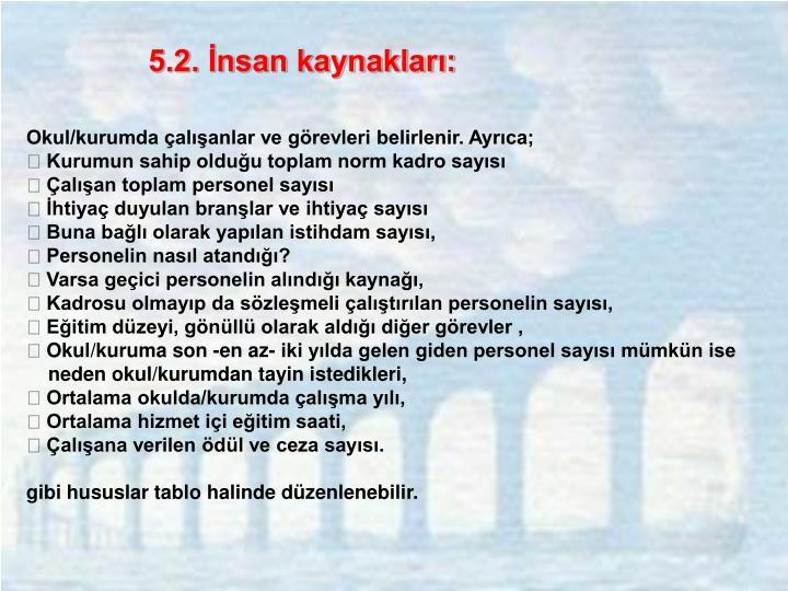 5.2. İnsan kaynakları: