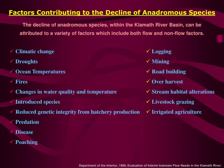 Factors Contributing to the Decline of Anadromous Species