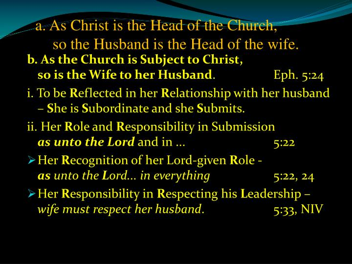 a. As Christ is the Head of the Church,       so the Husband is the Head of the wife.