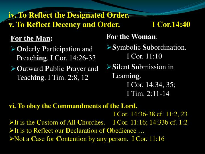 iv. To Reflect the Designated Order.