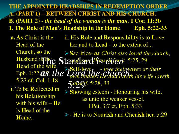 THE APPOINTED HEADSHIPS IN REDEMPTION ORDER